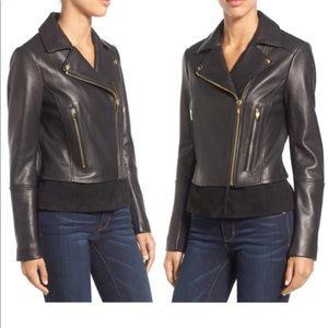 VIA SPIGA Mixed Media Leather Moto Jacket SZ PS